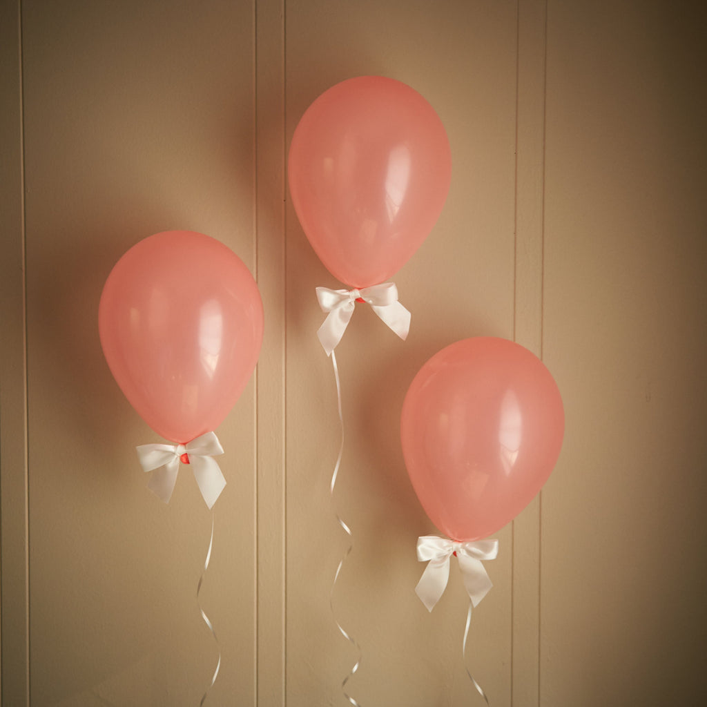 Coral Baby Shower Decorations.  Ships in 1-3 Business Days.  Light Coral Balloons with White Bows 8CT + Curling Ribbon.