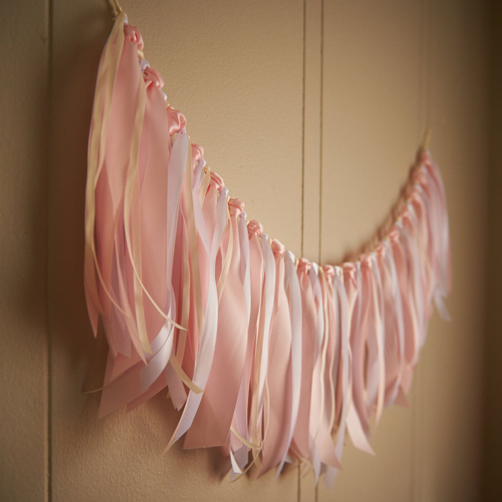 Fabric Garland Backdrop.  Ships in 1-3 Business Days.  Fabric Garland Banner.  Ribbon Garland.  Ribbon Backdrop in Baby Pink, Ivory & White.