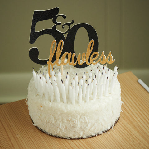 50th Birthday Cake Topper.  Ships in 1-3 Business Days.  50 & Flawless Cake Topper.