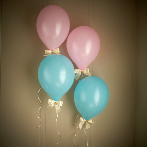 Gender Reveal Party Decor.  Ships in 1-3 Business Days.  Baby Pink & Baby Blue Balloons with Ivory Bows 8CT + Curling Ribbon.