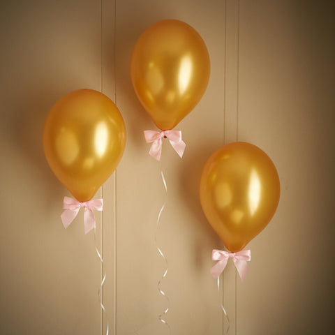 Pink and Gold Birthday Party Decorations.  Ships in 1-3 Business Days.  Gold balloons with Pink Bows 8CT + Curling Ribbon.