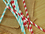 Red, White & Blue Paper Party Straws.  Ships in 1-3 Business Days.  Airplane Party Decorations.  Red and Blue Striped Straws 10CT.