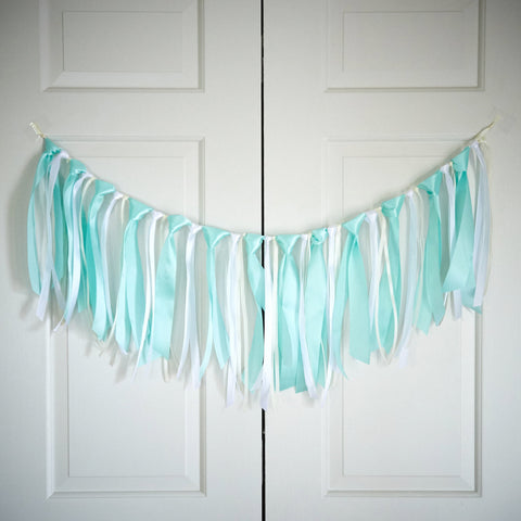 Bridal Shower Decor.  Ships in 1-3 Business Days.  Aqua Ribbon Garland.  Fabric Garland Backdrop.  Fabric Garland Banner.
