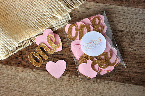 "Pink and Gold Party Decorations.  Ships in 1-3 business days.  Heart Confetti with ""One"" Cutouts."