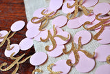 Paper Confetti Initials and Circles for Pink and Gold Party Decorations 50CT.  Ships in 1-3 Business Days.