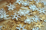 Winter Wonderland Party Decoration Mini Confetti 2 Packs 25CT Each. Ships in 1-3 Business Days. Gold and White Mini Snowflake Confetti.