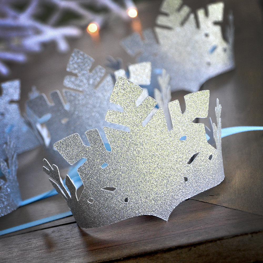 Frozen Party Favor Crowns. Made in 1-3 Business Days. Silver and Baby Blue Snowflake Crowns. Winter Party Favors. Winter Onederland Decor.