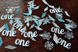 "Winter Onederland Party Decorations. Ships in 1-3 Business Days. Baby Blue and Silver Party Decorations. ""One"" and Snowflake Confetti Mix."