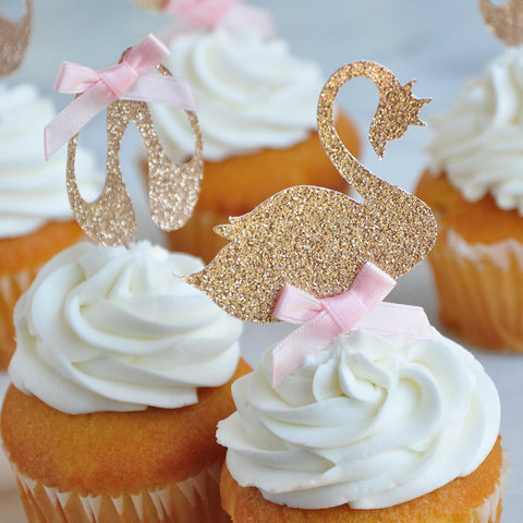 Swan Lake Cupcake Toppers. Handmade in 1-3 Business Days. (Set of 12 Toppers). Ballerina Cupcake Toppers. Swan Cupcake Toppers. Princess Birthday.