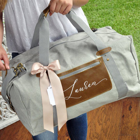 Company Logo Gifts For Employees. Travel Bag for Women. (Qty. 1) Overnight Duffel Bag Personalized. G20OB.