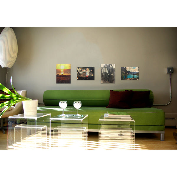 Green Living Room Wood Decor with Custom Printed Images