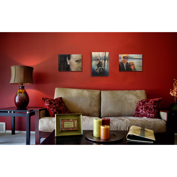 Red Living Room with Custom Photo Prints on Wood Decor