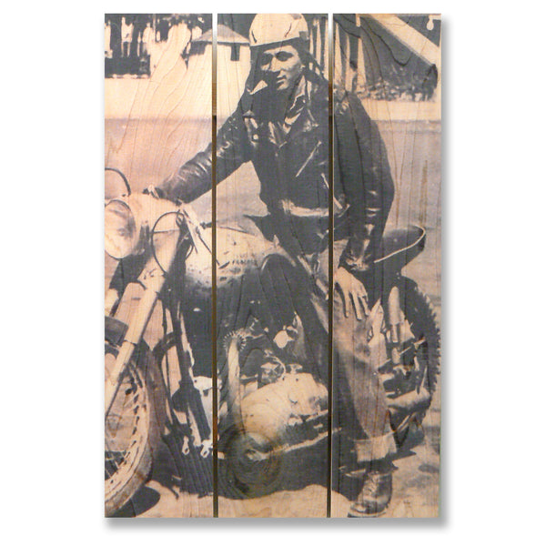 Black and White Motorcycle Image on Cedar. Custom Print Images onto Wood.