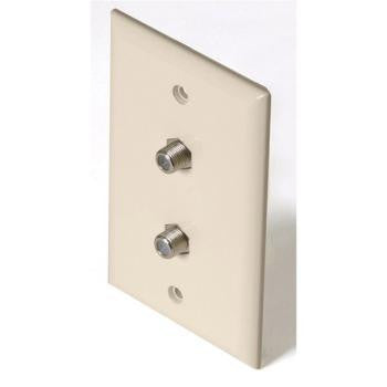 F Connector and Phone Almond Wall Plate