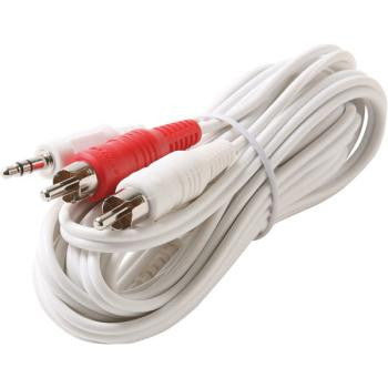 12' 3.5mm Male To 2-RCA Male Y IPOD® Cable - White
