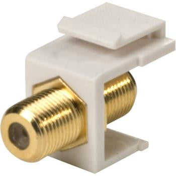White Single F To F Gold Keystone Insert - Gold Plated Contacts - 10-Pack