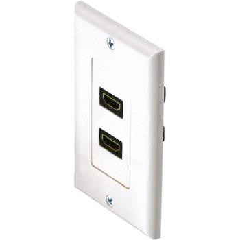 Double HDMI to HDMI Feed Thru Designer Stlye Wall Plate - White