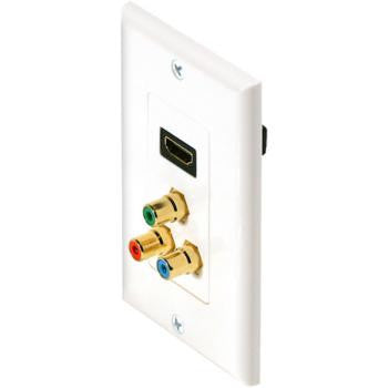 HDMI and Component Video Designer Style Wall Plate - White