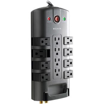 12-Outlet Pivot-Plug Surge Protector with Telephone/Coax Protection