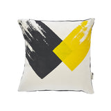 Geometric brushstroke cushion - grey/yellow
