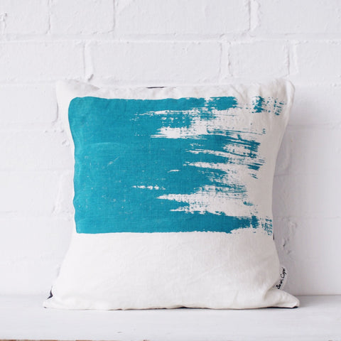 Bold brushstroke cushion: blue