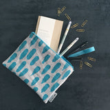 Brushstroke pouch in blue