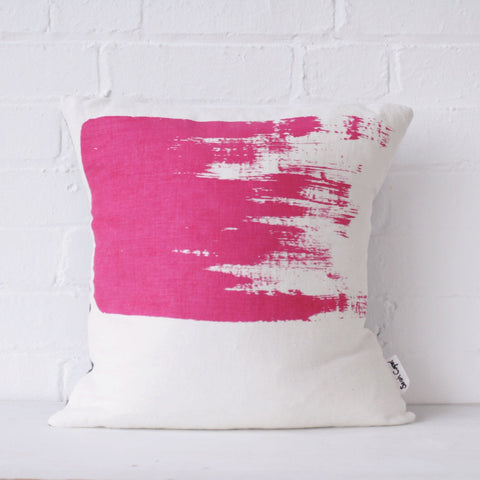 Bold brushstroke cushion: magenta