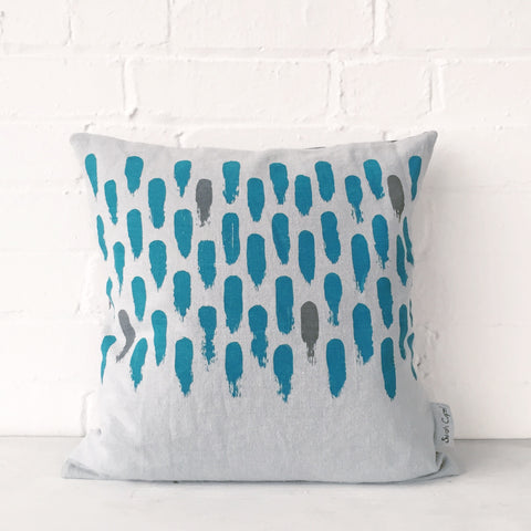 Small brushstroke cushion: blue/grey