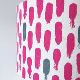 Small brushstrokes lampshade: magenta/grey