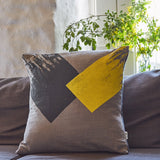 Geometric brushstroke large cushion - grey/yellow