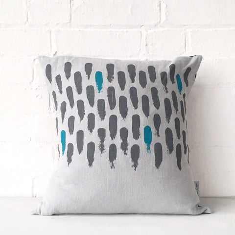 Small brushstroke cushion: grey/blue
