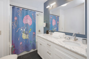 "Octolily & Kittyfish ""Jellyfish"" Shower Curtain"