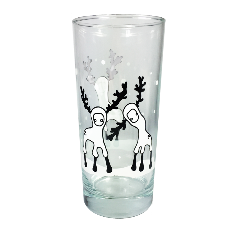 Snowy Reindeer Drinkware Set (2 Glasses + 6 Coasters)