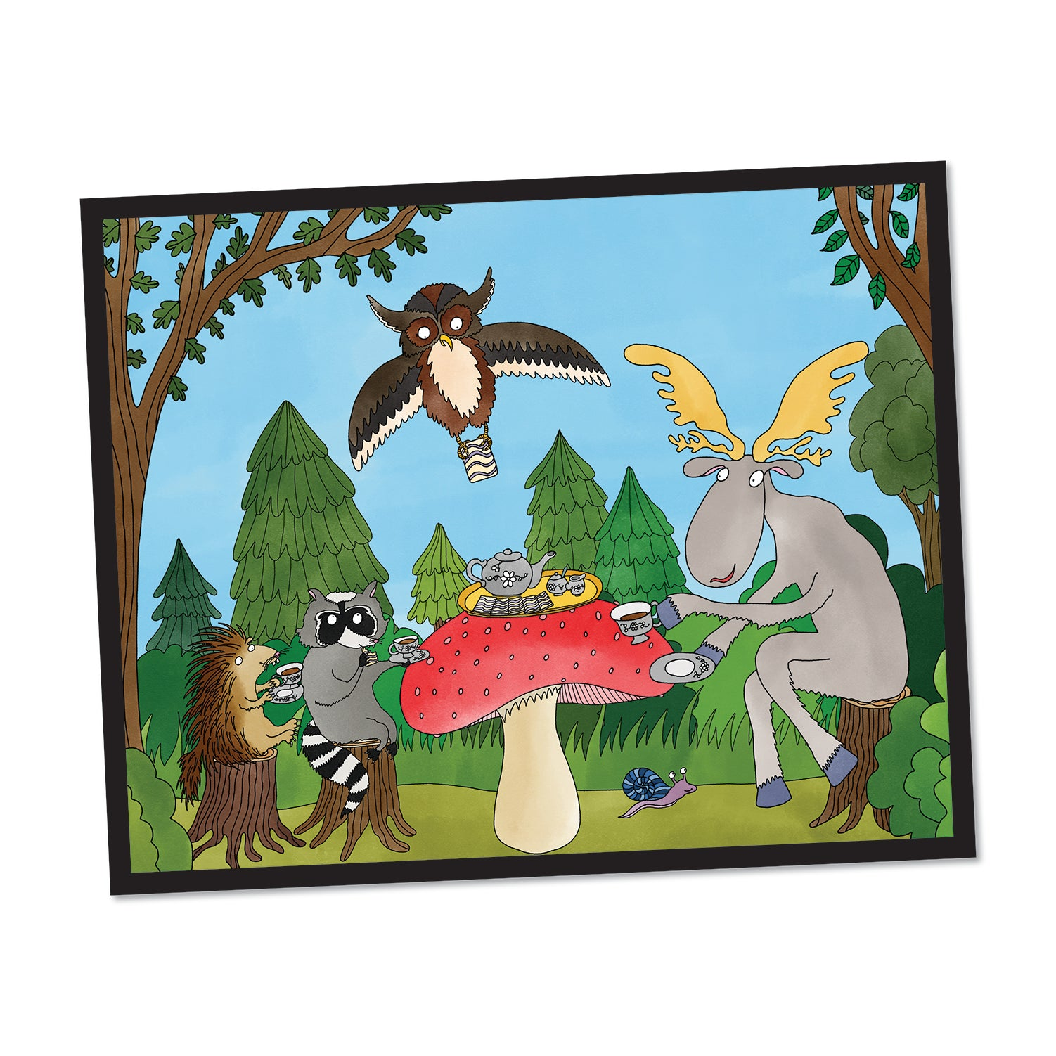 Redsharkboy - Woodland Tea Party Framed Print
