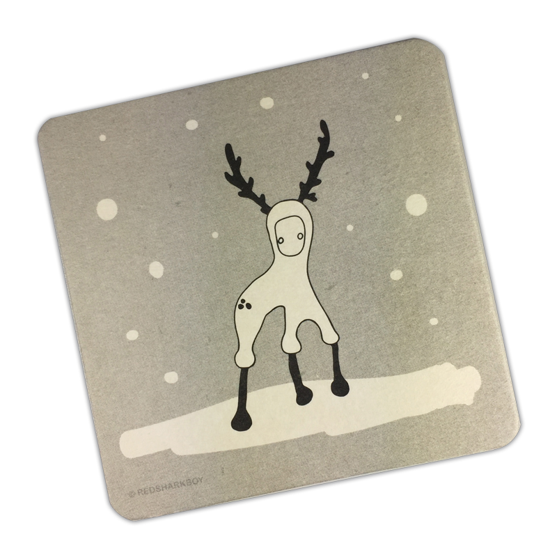 Snowy Reindeer Coasters (Set of 6)