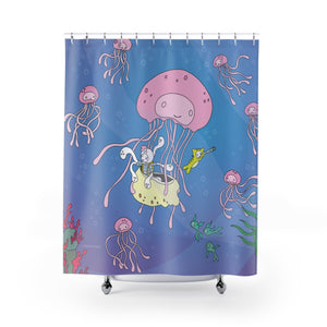 Redsharkboy - Octolily & Kittyfish Shower Curtain