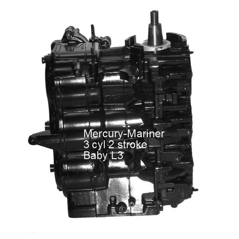 Mercury-Mariner Remanufactured Baby L3 3 cyl. Powerhead 40-60 HP 1993-2008
