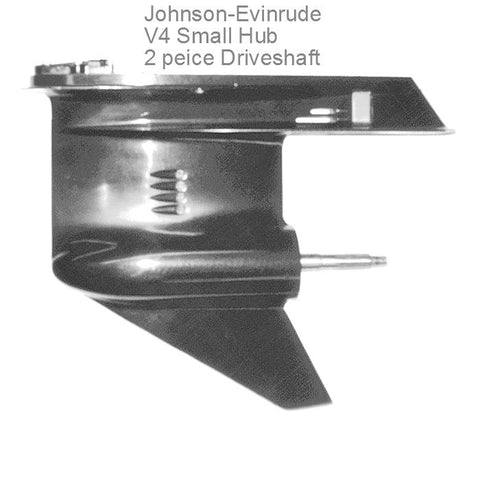 "Johnson-Evinrude ""Small"" Remanufactured V4 Gearcase Lower Unit 88-140 HP 1978-1998 For Newer-Styled 2-Piece Drive Shaft"