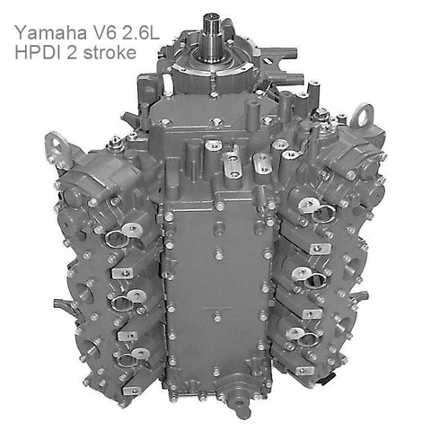 Yamaha Powerhead V-6 2.6L 2-Stroke HPDI 150 thru 200 HP 2000-2014  Re-manufactured