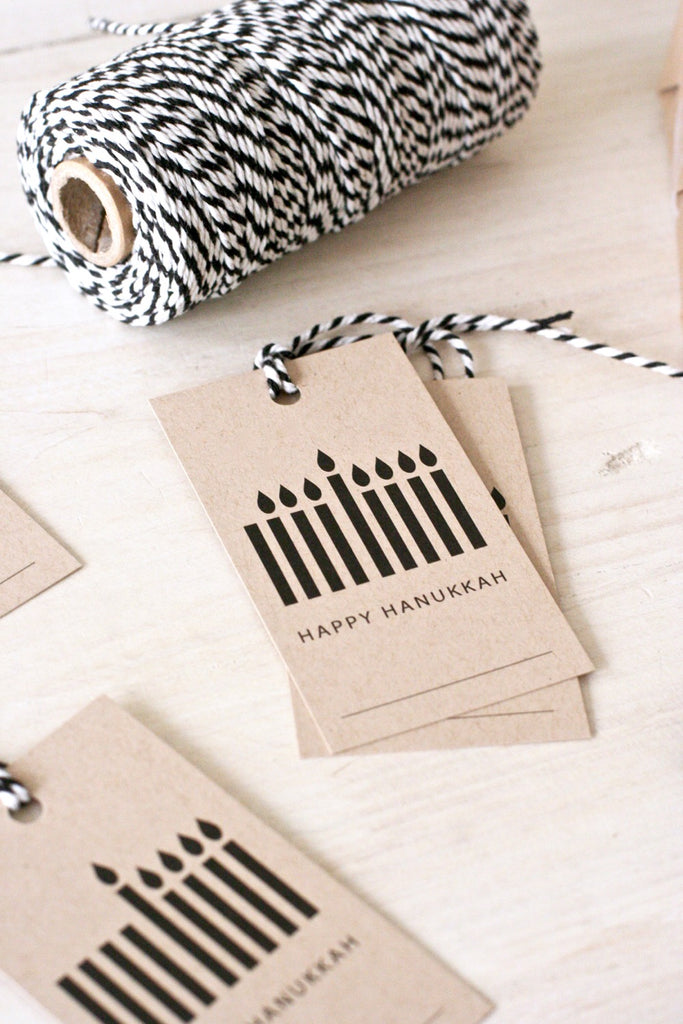 Kraft Menorah Hanukkah Gift Tags, set of 8