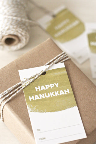 Gold Foil Hanukkah Gift Tags, set of 8