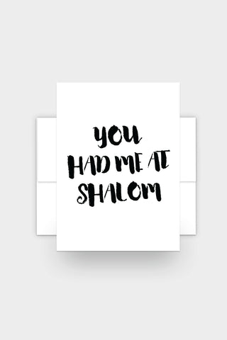 You Had Me at Shalom - Funny Jewish Affection Card