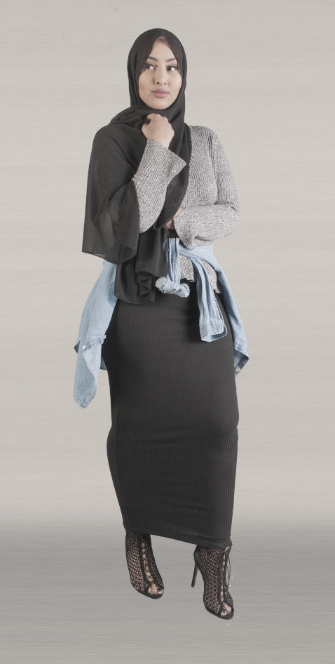 Black Rib Pencil Skirt