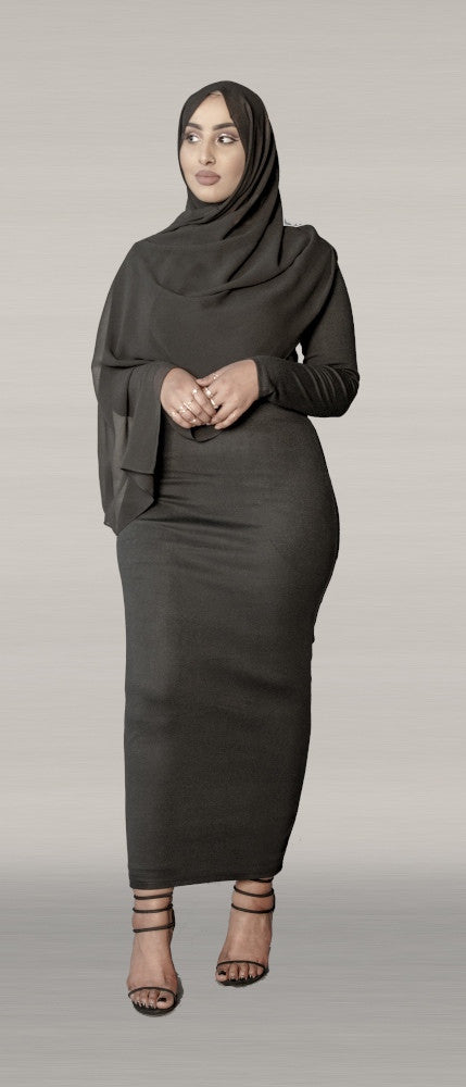 Black Knit Pencil Dress