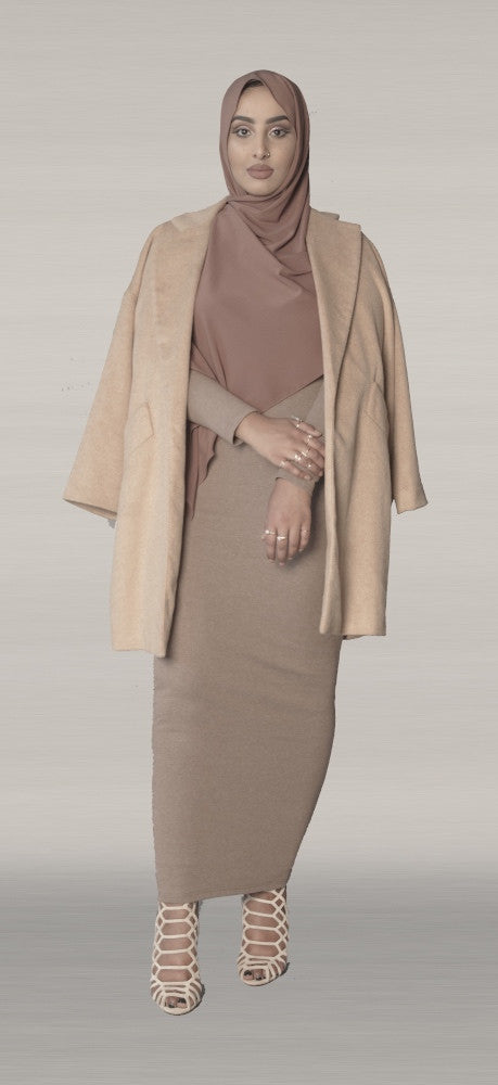 Taupe Knit Pencil Dress