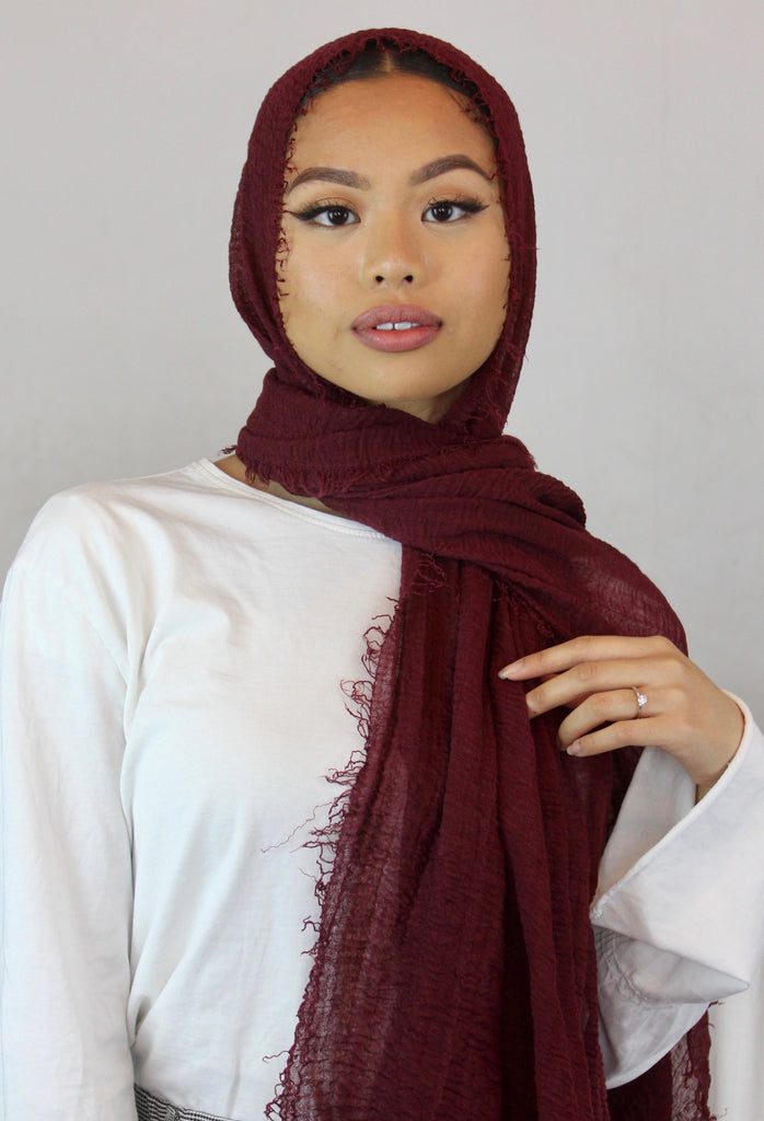 Maroon Cotton Maxi Hijab