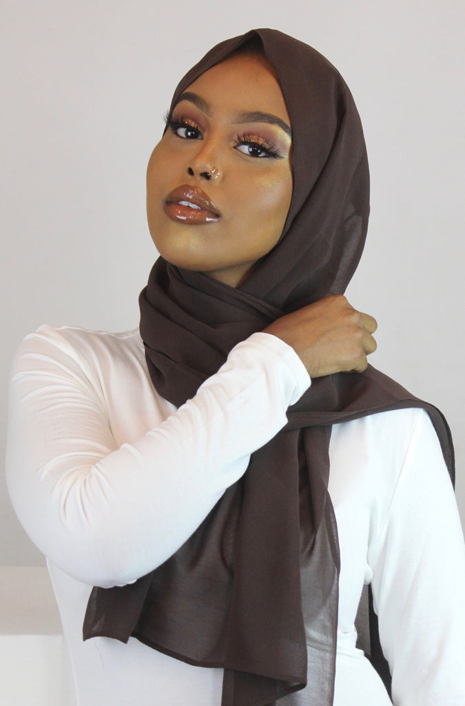 Espresso Bean Stretch Georgette Hijab