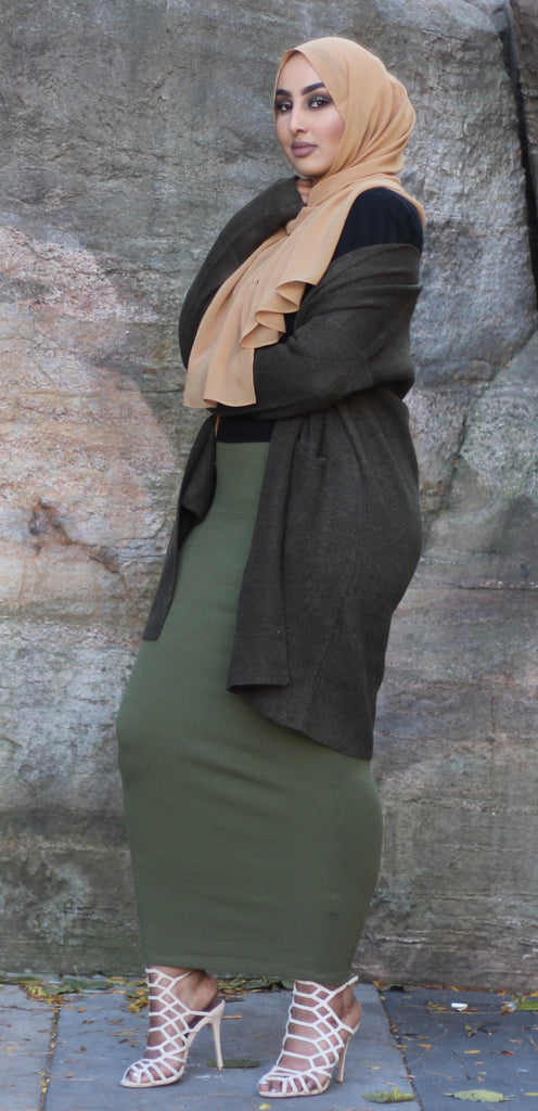 Olive Knit Pencil Skirt
