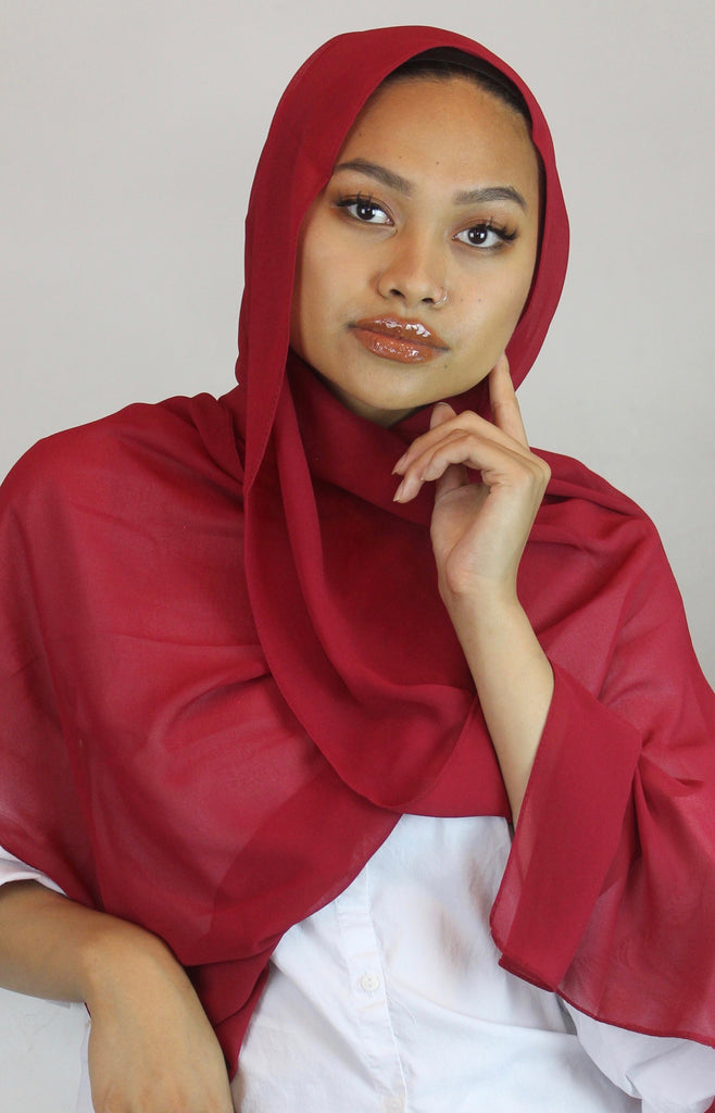 Raspberry Stretch Georgette Hijab
