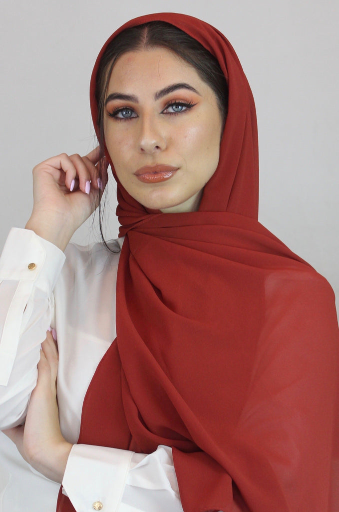 Blood Orange Stretch Georgette Hijab